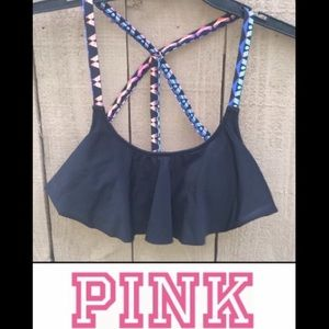 PINK VS Flounce Bikini Top Strappy Scoop S